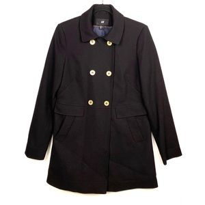 H&M  Black Coat Gold Buttons sz 10